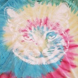 Vintage tie dye cat tee